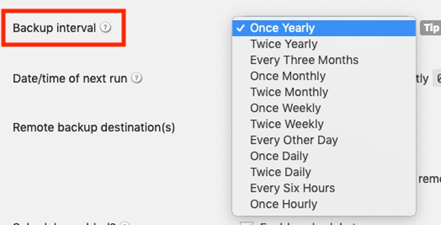تنظیم زمان بندی برای بک آپ گیری از وب سایت