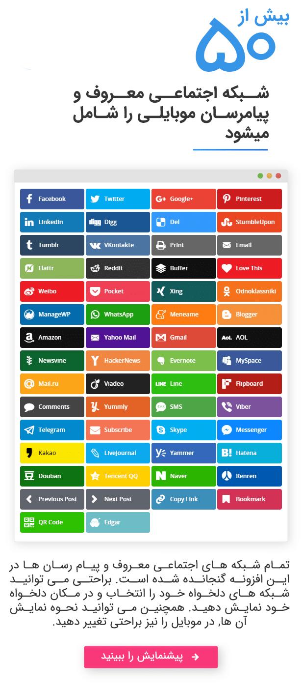 دکمه های شبکه اجتماعی برای وردپرس